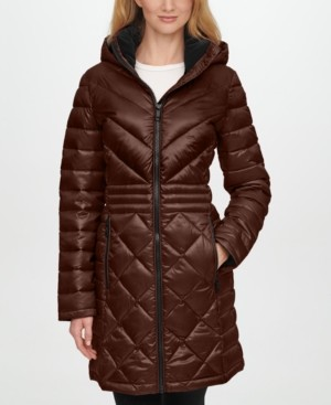 Calvin Klein Petite Hooded Packable Down Puffer Coat, Created for Macys