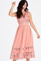 Little Mistress Miranda Orange Crochet Midi Dress