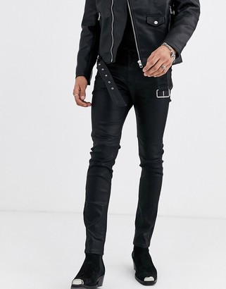 Asos Edition EDITION skinny jeans in black coated leather look with western details
