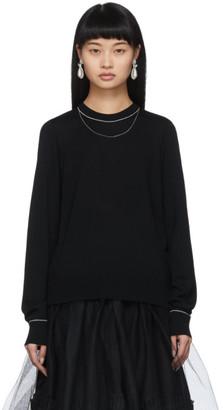Noir Kei Ninomiya Black Wool Chain Detail Sweater