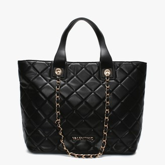 Mario Valentino Valentino By Ocarina Black Quilted Chain Handle Tote Bag