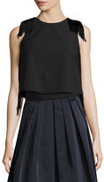 Derek Lam 10 Crosby Sleeveless Fringe Crop Top, Black