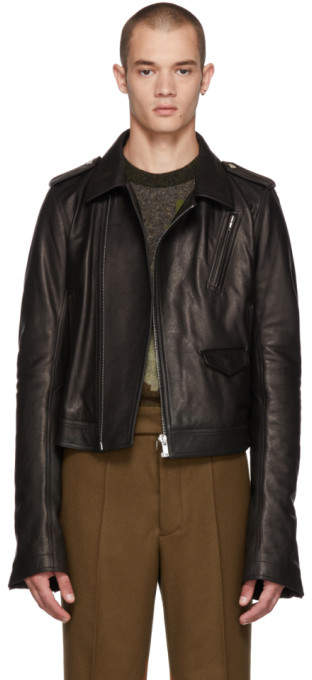 Rick Owens Black Leather Cropped Stooges Jacket