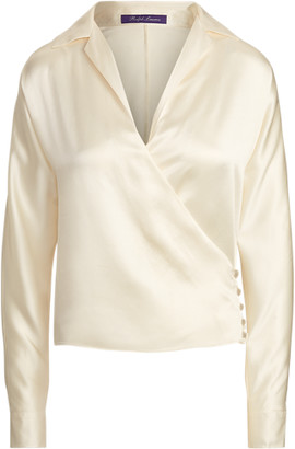 Ralph Lauren Libby Silk Satin Wrap Blouse