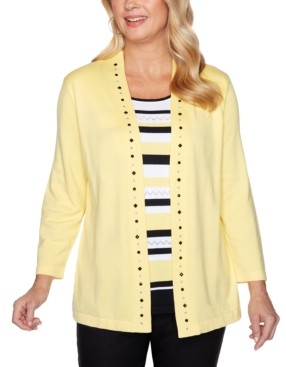 Alfred Dunner Petite Riverside Drive Layered-Look Inner-Striped Sweater