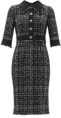 Dolce & Gabbana Plaque-button Tailored Tweed Midi Dress - Black White