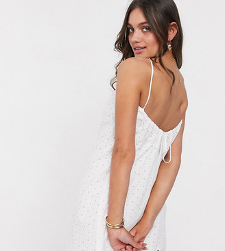 ASOS DESIGN Petite broderie low back mini sundress in white