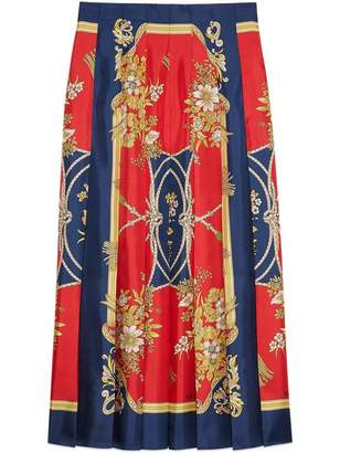 Gucci Pleated Silk GG Rope Print Skirt