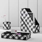 Pottery Barn Teen Fabric Desk Accessories Set, Black Watercolor Plaid