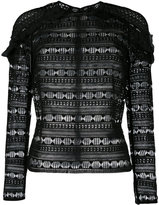 Self-Portrait frill shoulder blouse - women - Polyester - 12