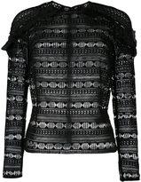 Self-Portrait frill shoulder blouse - women - Polyester - 8