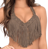 Luli Fama Heart Of A Hippie Weave Fringed Underwire In Sandy Toes