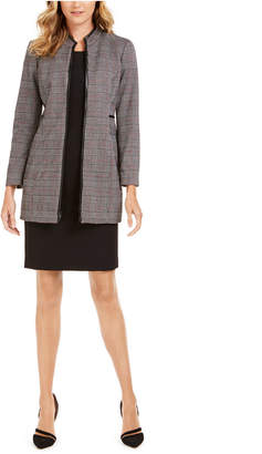 Kasper Plaid Faux-Leather-Trim Topper Jacket