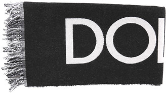 Dolce & Gabbana Black & White Wool Blended Scarf