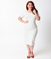 Unique Vintage Plus Size 1960s White Anchor Short Sleeve Stretch Mod Wiggle Dress