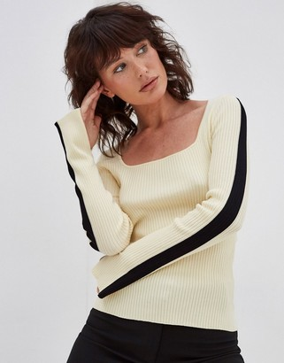 4th & Reckless knitted square neck jumper with contrast stripe detail in cream