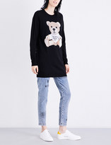 Moschino Ladies Black Graphic Teddy Bear-Appliqué Knitted Dress