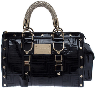 Gianni Versace Versace Black Quilted Patent Leather Snap Out Of It Satchel