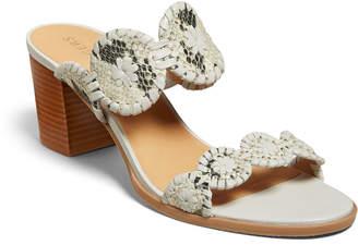 Jack Rogers Lauren Mid-Heel Snake-Print Slide Sandals