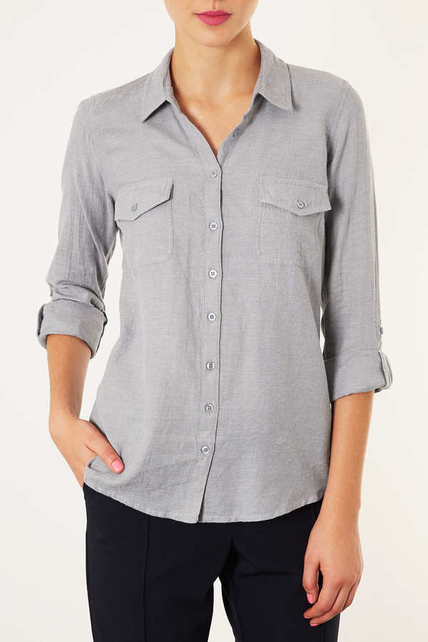 Topshop Casual Chambray Shirt