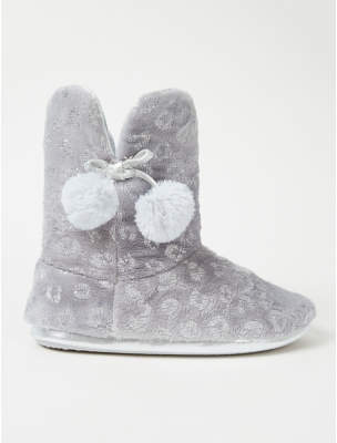 George Metallic Grey Leopard Print Slipper Boots