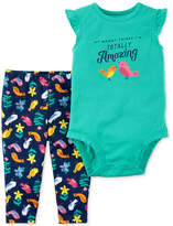 Carter's 2-Pc. Cotton Totally Amazing Bodysuit and Bird-Print Pants Set, Baby Girls