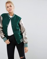 Asos Bomber Jacket With Metallic Sleeves