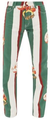Casablanca - Orange-print Striped Cotton-denim Jeans - Mens - Dark Green