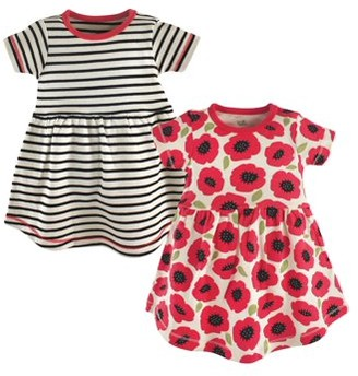 Touched by Nature Toddler Girls Organic Cotton Short Sleeve Dresses, 2-Pack (Sizes 2T-5T)
