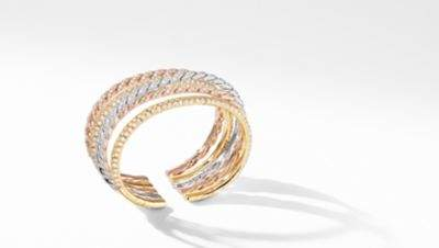 David Yurman Davidyurman Paveflex Five Row Bracelet In 18K Gold With Diamonds