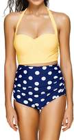Spring fever High Waist Polka Dot Print Bikini Tribal Ladies Retro Swimsuit Set