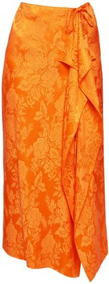 ATTICO High Waist Jacquard Satin Long Skirt
