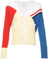 Thom Browne V-Neck Cardigan With Red, White And Blue Diagonal Stripe & Rib Intarsia In Cashmere