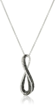 """Amazon Collection Sterling Silver Black and White Diamond Infinity Pendant Necklace (1/3 cttw) 18"""""""