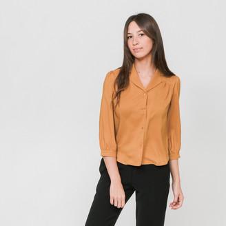 Side Party - Burnt Orange Noe Notch Collar Pleated Shoulder Blouse - S - Orange