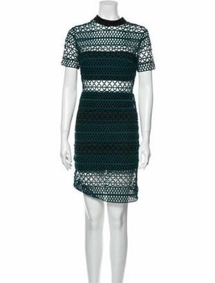 Self-Portrait Lace Pattern Knee-Length Dress Green