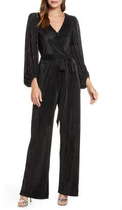 Eliza J Long Sleeve Open Back Jumpsuit
