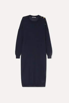Stella McCartney Button-embellished Wool And Silk-blend Midi Dress - Navy