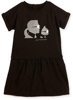 Karl Lagerfeld Milano Short-Sleeve Smocked Jersey Dress, Black, Size 12-16