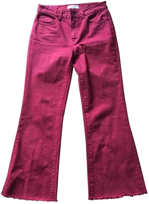 Jucca Burgundy Cotton - elasthane Jeans for Women