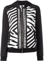 Versus striped print zipped hoodie - women - Cotton/Polyester/Spandex/Elastane - M