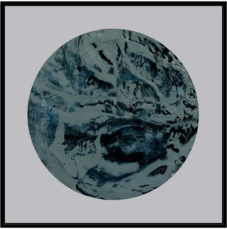 Jonathan Bass Studio Painterly Circle On Grey A, Decorative Framed Hand Embellished Canvas