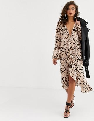 Pretty Lavish midi wrap dress in leopard print-Stone