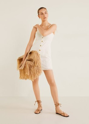 MANGO Bow embroidered dress off white - 6 - Women
