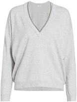 Brunello Cucinelli Wool & Cashmere-Blend Monili-Trim V-Neck Sweater