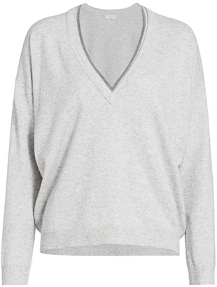 Brunello Cucinelli Wool & Cashmere-Blend Monili-Trim V-Neck Sweater
