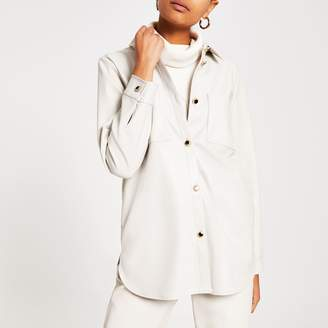 River Island Womens Cream faux leather long sleeve jacket