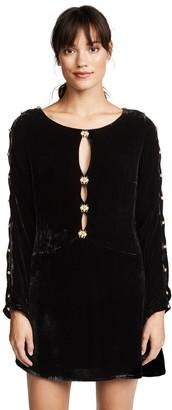For Love & Lemons Women's Beatrix Velvet Dress Noir S