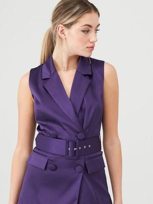 Very Satin Sleeveless Longline Blazer - Purple