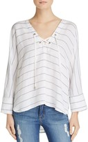 Rails Lily Striped Lace-Up Pullover